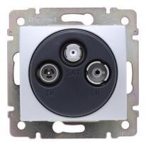 Legrand Valena aluminium - gniazdo TV-RD-SAT (przelotowe) Legrand
