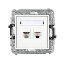 Karlik Mini biały - gniazdo telefoniczne + komputerowe (RJ11+RJ45) - MGTK Karlik