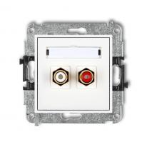 Karlik Mini biały - gniazdo 2xRCA (typu cinch) - MGRCA-2 Karlik