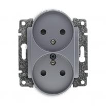 Kos Vena 2 aluminium - gniazdo podwójne (+0) do ramki Kos Elektro System