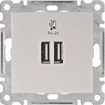 Hager Lumina srebrny - gniazdo podwójne USB Hager