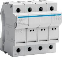 Modułowa podstawa bezpiecznikowa 3P+N 32A 690V LSN504 10x38mm Hager