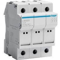 Modułowa podstawa bezpiecznikowa 3P 32A 690V LSN503 10x38mm Hager