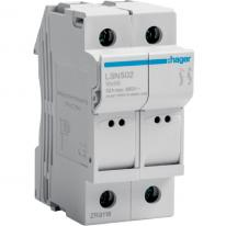 Modułowa podstawa bezpiecznikowa 2P 32A 690V LSN502 10x38mm Hager