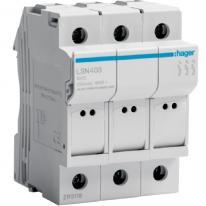 Modułowa podstawa bezpiecznikowa 3P 25A 500V LSN403 8.5x32 Hager