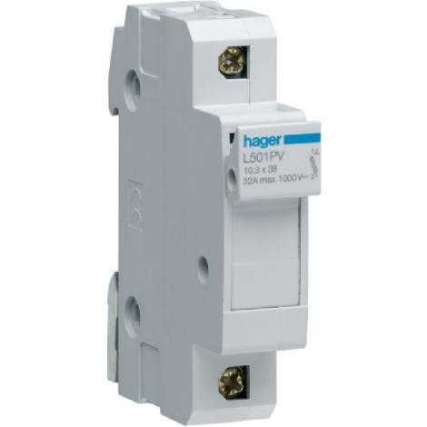 Modułowa podstawa bezpiecznikowa PV 1P 32A 1000V L501PV 10x38mm Hager