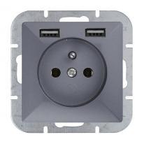 Abex Perła antracyt - gniazdo pojedyncze (+0) PT-16P + 2xUSB Abex